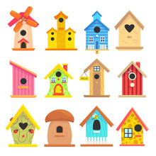 Wooden Birdhouse Set, Colorful...