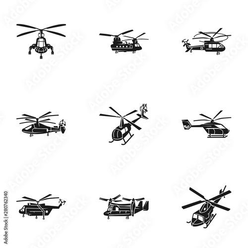 Fotografia Modern helicopter icon set