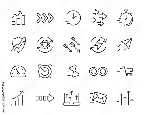 Photo set of agile icons, speed, accelerator, boost, fast, up, high