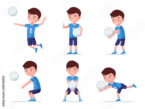 Set boy volleyball player in various poses