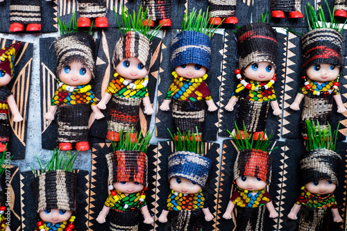 Koronadal, PH - July 18, 2019: Cute dolls dressed in T'nalak clothes displayed during the T'nalak Festival 2019 Canvas Print