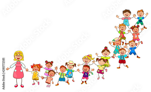 Fotobehang Kids Happy children from kindergarten. Joyful little kids and a teacher. A group of children with a teacher on a walk. Group of cheerful, smiling children on a white background