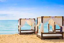 Bulgaria, Sunny Beach. Line Of Sunbeams At The Sunny Beach Next To Helena Palace Hotel.