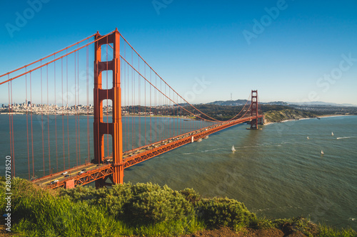 View of the beautiful famous Golden Gate Bridge in San Francisco, California