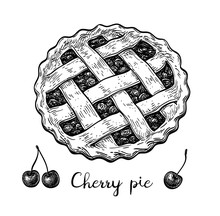 Ink Sketch Of Cherry Pie.