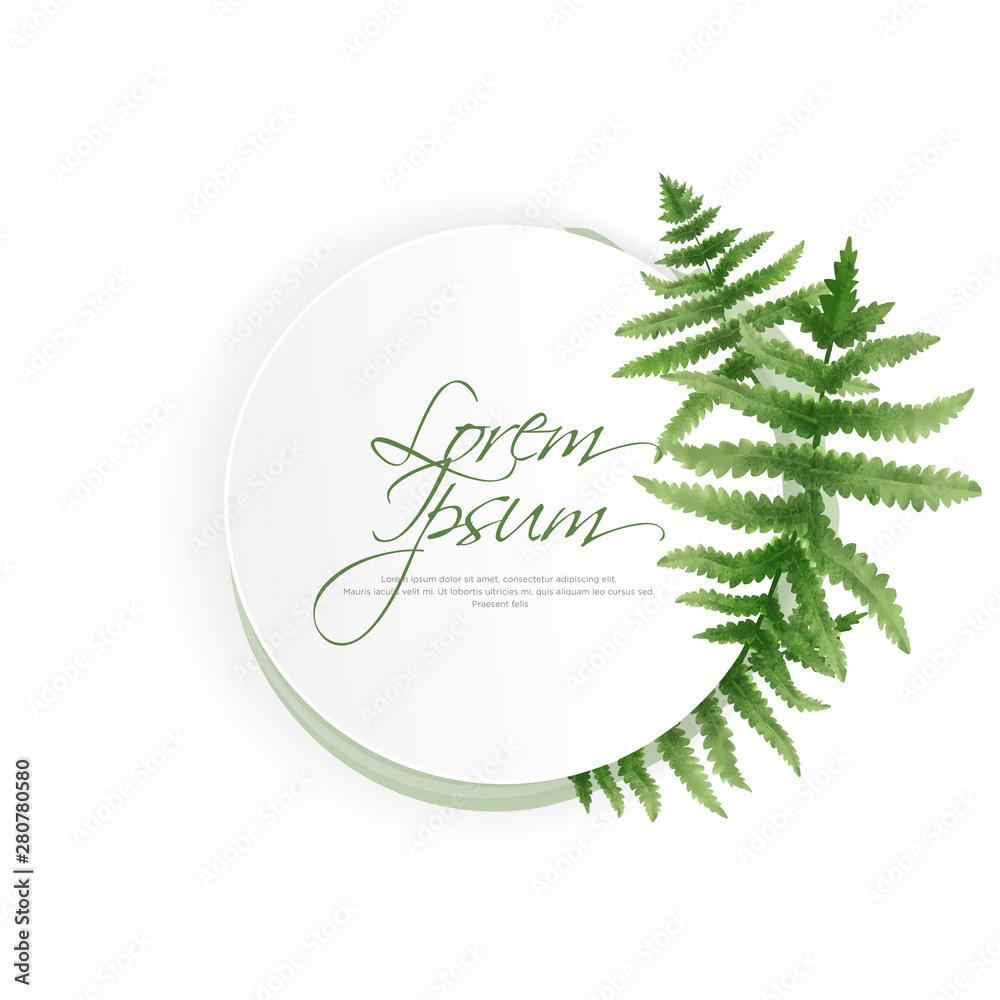 Fototapeta Circle watercolor fern frame, border, wreath, cover template layout vector
