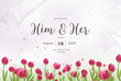 Red tulip field watercolor floral wedding invitation layout background vector