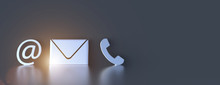 Contact Icons Leaning Against A Wall For Hotline And Service Concept