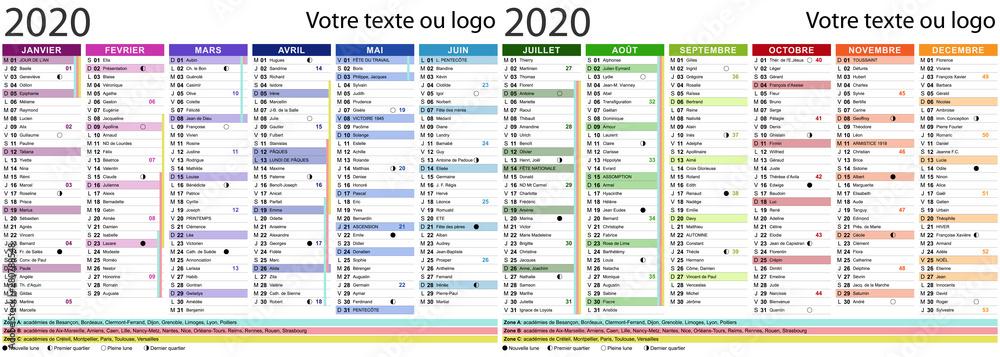 Calendrier 2020 Avec Photos.Photo Art Print Calendrier 2020 Avec Fetes Et Saints