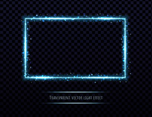 Blue Neon Frame With Light Eff...