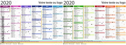 Calendrier 2020 avec fêtes et saints - Texte vectorisé + non vectorisé sur calqu Wallpaper Mural