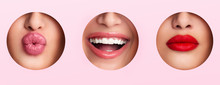 Calm, Smile, Kiss Lips With Pomade In Three Different Holes