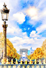Beautiful Digital Watercolor Painting Of Champs Elysees In Paris, France. Arc De Triomphe In The Background.