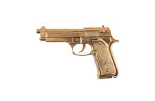 Golden Pistol Isolated On White Background