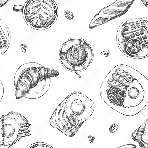 Fototapeta Decorative seamless pattern with Ink hand drawn breakfast dishes - fried eggs with sausages, croissant, baguette, coffee. Food elements texture for your design. Vector illustration. obraz