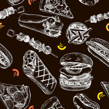 Decorative Seamless Pattern With Ink Hand Drawn Burgers, Pizza, Shawarma. Food Elements Texture For Your Design. Vector Illustration.