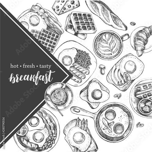 Fototapeta Ink hand drawn background with breakfast dishes - fried eggs, sausages, bacon, coffee. Food elements collection with brush calligraphy style lettering. Vector illustration. Menu or signboard template. obraz