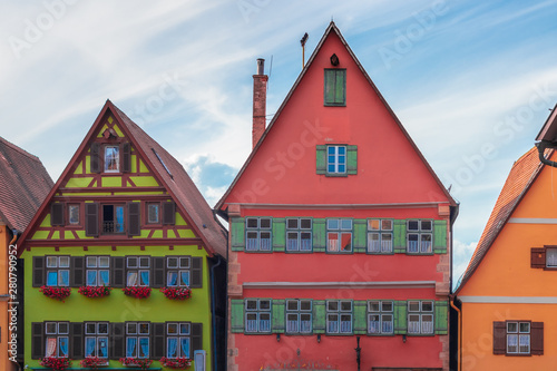 Traditional, colorful buildings in the historic old town of Dinkelsbühl, a medieval city on the Romantic Road in Bavaria, Germany.
