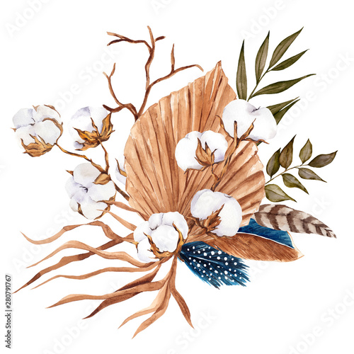 bouquet-with-pampas-grass-flowers-feather-and-cotton-watercolor-hand-draw-floral-element-in-boho-style-isolated-on-white-background