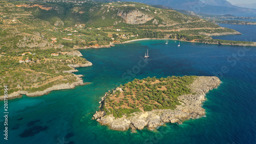 Fotobehang Cyprus Aerial drone photo from picturesque village of Kardamili in the heart of Messinian Mani, Peloponnese, Greece