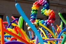 Pride Parade With A Balloon Heart