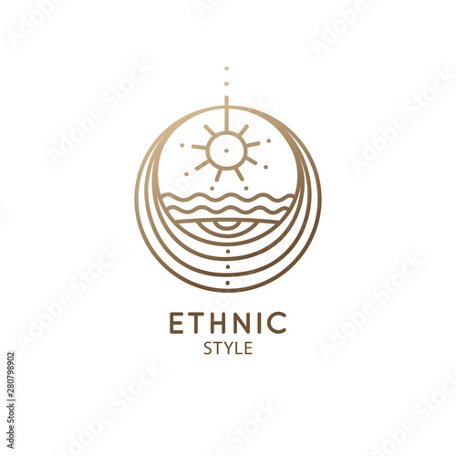 La pose en embrasure Style Boho Abstract sacred symbol of nature logo