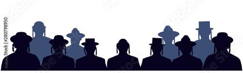 Fototapeta People portrait Israelite. Jewish head profile avatar icons. Crowd of people of Jewish nationality. Audience public auditory. Silhouette vector set obraz
