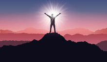 Silhouette Of A Winner On Mountain Peak. Active Life Concept. Man Silhouette On Sunrise - Stock Vector
