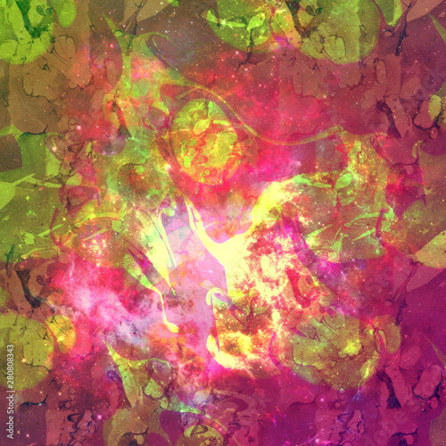 Fototapety, obrazy: Colorful Watercolor Abstract background. Multicolor grunge psychedelic pink green texture with spots. Multicolor style digital painting. Blurred chaotic brush tie dye pattern. Hand painting fabrics