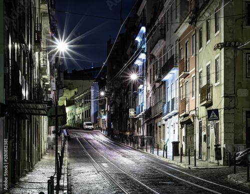 Photo  Lisbon street  at night