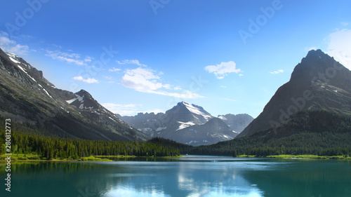 Valokuva  Scenic landscape of Glacier national park in Montana