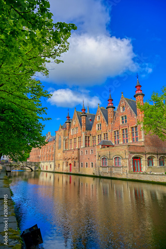 Foto op Canvas Brugge The canals of Bruges (Brugge), Belgium on a sunny day.