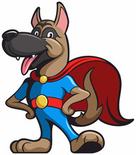 Cartoon Style Dog As Super Hero, Dog Cartoon Character With Blue Clothing And Red Cloak.