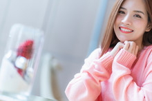 Beautiful Asian Woman Long Brown Hair Portrait Pink Sweater With Happiness Smile And Positive Thinking