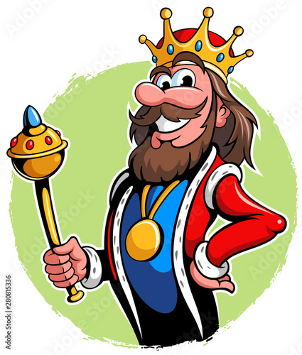 Foto Illustration of a king with the golden scepter, vector king cartoon character