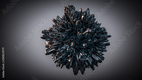 Fényképezés  3d render of abstract shape: black deformed sphere