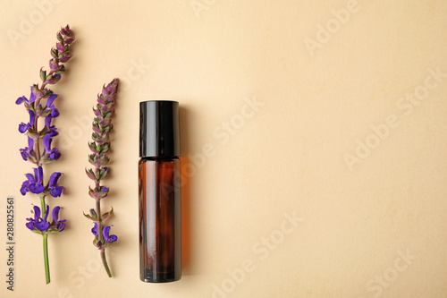 Fototapeta Bottle of essential oil and sage flowers on color background, flat lay. Space for text obraz