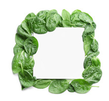 Fresh Green Healthy Baby Spinach Leaves And Blank Card On White Background, Top View. Space For Text