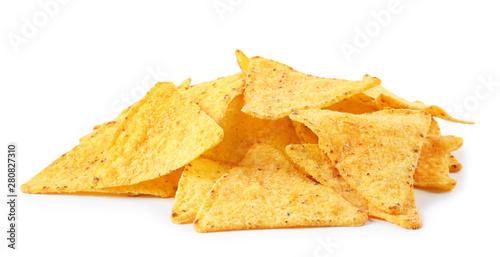 Spoed Foto op Canvas Kruidenierswinkel Pile of tasty Mexican nachos chips on white background