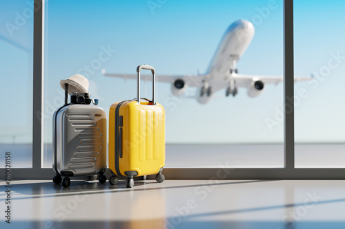 Fototapeta Suitcases in airport. Travel concept. 3d rendering obraz