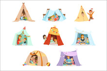 Cute Little Children Playing With A Teepee Tent, Set For Label Design. Cartoon Detailed Colorful Illustrations