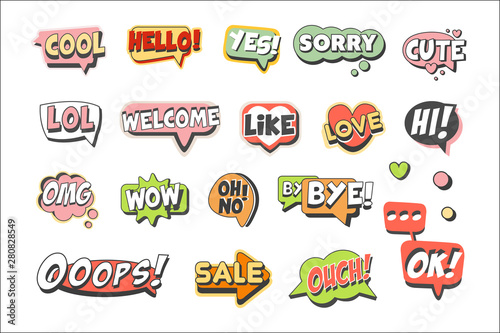 Trendy speech bubbles set for label design. Speech bubbles with short messages. Colorful cartoon detailed Illustrations