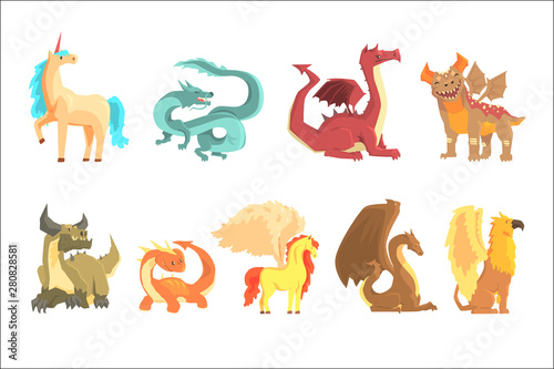 Mythological animals, set for label design Fototapete