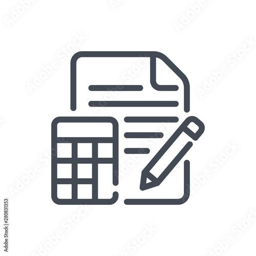 Fotomural Calculation line icon. Examination vector outline sign.