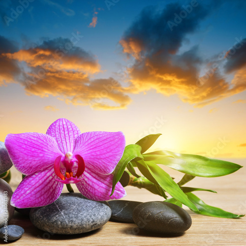 Poster de jardin Montagne Zen pebbles with bamboo leaves and orchid flower on table, in the background sunset sky.. Spa and healthcare concept.