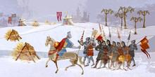 Medieval Battle Scene. Crusade...