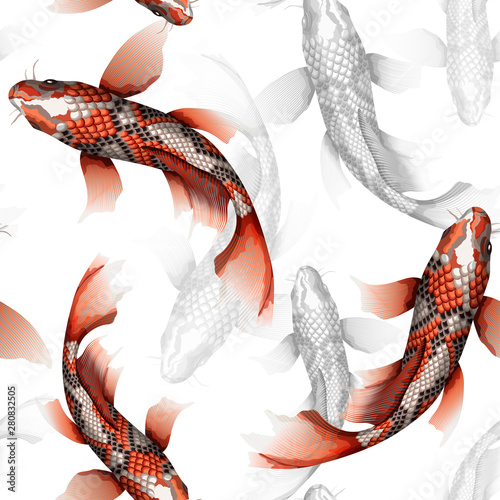 Koi carps, traditional colorful japanese fish detailed vector seamless pattern #280832505