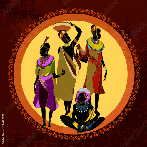 African women silhouettes in national clothes and hot sun savanna. Beautiful black females. Scene of life of the tribe of South Africa Wall mural