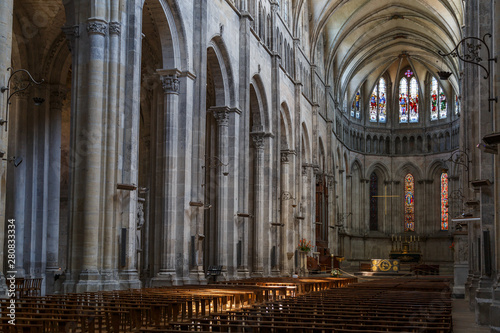 Fényképezés  VIENNE / FRANCE - JULY 2015: Gothic Cathedral church interior in the historic ce