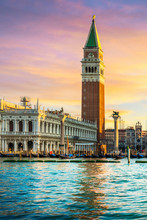 Venice Landmark At Dawn, Piazza San Marco With Campanile And Doge Palace. Italy